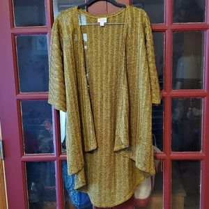 LuLaRoe Heathered Mustard Sweater Knit Lindsay